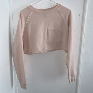 Cute Light Pink Oversized Cropped Sweatshirt